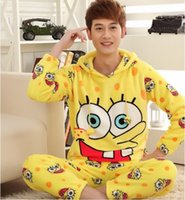 Wholesale Winter thick coral velvet couple pajamas cartoon male long sleeved Mink flannel spongebob clothing for home