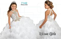 Wholesale White Girls Pageant Dresses Ritzee Girls Ruffled Organza Ball Gown MB Beaded Halter Bodice Lace Up Back Kids Formal Party Dresses
