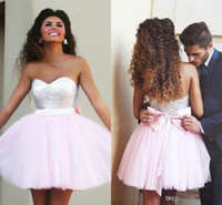 Wholesale 2015 Zuhair Murad Short Pink Graduation Dresses Sequined Top Sweetheart with Cute Bow Sash Backless MiNi Prom Evening Dresses