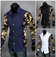 Wholesale NEW Spring Mens Long Sleeved Dress Shirts Turn Down Collar Button Unique Design Slim Fit Brand Shirts Men s Shirts