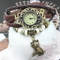Cheap 500pcs lot Vintage Ladies Watch Owl Pendant Item Bead Bracelet Watches Retro Braided Leather Strap Watch 2014 DHL free shipping
