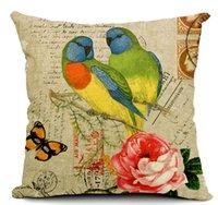 Wholesale turtledove retro cushion cover decorative parrot bird pattern decorative pilow case almofada home decor