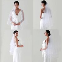 Wholesale New Arrival Layer Ivory Satin Ribbon Edge Accessories Women s Veils Bridal Tulle comb Bridal Veil