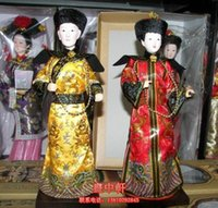 oriental statues - Oriental Broider Doll Pair China Old style figurine Qing emperor empress statue