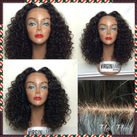 best looking wigs - Freeshipping Afro Kinky Curly Human Hair Glueless Silk top Full lace wigs Best natural looking hairline SKin Color