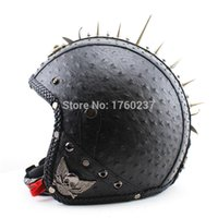 aviator leather helmet - 2015 New Arrival Rivet Punk Motorcycle Helmet Scooter Open Face Retro Leather Helmet with Aviator Goggle and face mask