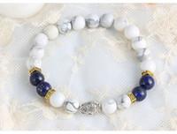 bag strand - Natural Semiprecious White Howlite Lapis Fish Beaded Bangles Elastic Streched Men Women Bracelets Large Stock Jewelry Bag Free