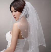 Wholesale 2015 New Bride Wedding Veil Short two layer wedding veil m bridal pearl veil soft wedding accessories