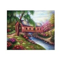 barn cover - New England Covered Bridge Barn River Frameless draw Americana X36 Oil Painting