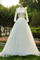 beaded dreams - Dreaming white Korea wedding dresses with long sleeves beaded crystal elegant A Line bridal gown Princess wedding gowns