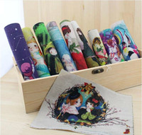 Wholesale 10 Assorted Designs Cartoon Hand Printing Cloth painting Digital Print CM Thick Cotton and linen base fabric