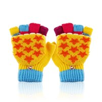 baby wells - Hot selling colorful baby boys girls winter warm gloves Striped Fingerless Gloves with star stretch well