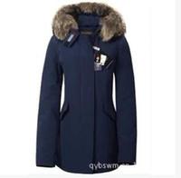 Wholesale 2016 Wool rich Jackets Artie long Parka navyblue Ladies down coats with fur hood colour