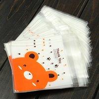 Precio de Bolsas de plástico para alimentos-100pcs / lot Food Packaging Bolsas Cookies Mini Oso Imprimir autoadhesivas de plástico de caramelo Pastel Galletas Bolsas de Navidad regalos Bolsas