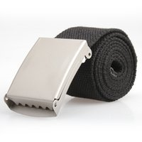 webbing belt - Hot Sale Mens Black Webbing Web Military Style Canvas Tan Belt Metal Buckle Hot FATE