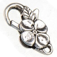 Wholesale 50pcs new diy fashion jewelry accessories vintage silver flower waterdrop large toggles hooks lobster metal clasp for jewelry making mm