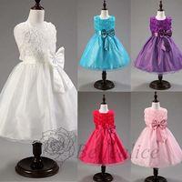 Wholesale Short Ballgown Party Dress - New Arrival Short Round Neck Sleeveless Girl Dresss Flowers Tulle Wedding Formal Party Flower Girl's Ballgown Princess Dresses
