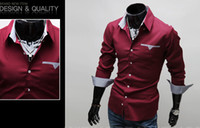 Wholesale Foreign selling new men s shirts men s shirt solid color men s casual long sleeved shirt T shirt