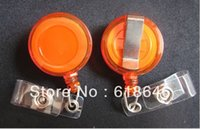 Wholesale New Orange Badge Reel ID Badge Retractable Reel Lanyard Belt Clip Plastic Strap