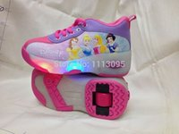 baby ice skates - Newest Retail pair Baby Girls Snow White Roller Shoes Ice Skates Flying Shoes With Wheels