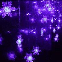 Venta al por mayor a 2015 Cadena tira de LED grande del copo de nieve decoración de boda 1.5x0.5m Flush Navidad del día de fiesta Cortina de Luz de Navidad Luminaria