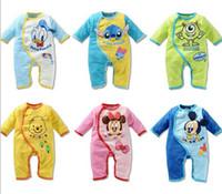 newborn clothes - Newborn Baby Kids Clothing Cartoon Micke Minnie Stitch Mike Donald Pony Rompers Boys Girls Kids Romper One Piece Jumpsuit D5994