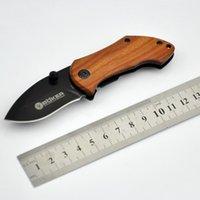 2014 2pcs BOKER DA33 Mini pequeño plegable cuchillo 440C hoja madera mango Cuchillo táctico caza camping cuchillo cuchillos EFF159 regalo de Navidad