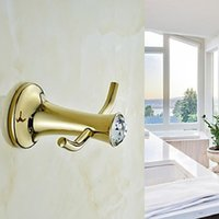 Wholesale Contemporary Golden Crystal Brass Robe Hook