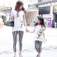 Wholesale summer style babymmclothes family look clothing set t shirt pants matching mother and daughter clothes mommy and me clothes
