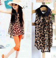 Wholesale Baby Girls irregular Leopard chiffon shirts Summer Children s sleeveless tank tops Kids tshirts