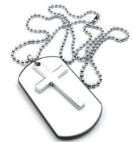 army dog tags - Mens Womens Army Style Cross Dog Tag Pendant Necklace inch Chain White Silver Drop Shipping