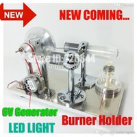 Wholesale 2015 New Hot Air Stirling Engine Model Generator Motor Improved with Alcohol Burner Holder