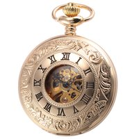 antique clock faces - New Mechanical Watch Gold Open Face Vine Removable Chain Male Clock Gift Texture Causal Texture Pocket Watch WPK188