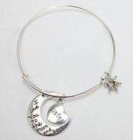Wholesale 5 Adjustable Links Chain Hollow i love you to the moon and back Pendant Charm Jewelry Women s Bracelets Bangle Family design