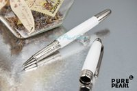 Rollerball Pens ceramic balls - PURE PEARL MB High Quality Best Design Silver Clip Roller Ball Pen Pure White Ceramic