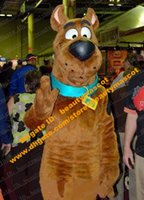 Wholesale Brown Snoopy Dog Scooby Doo Mascot Costume Mascotte With Black Large Nose Cartoon Character Adult Fancy Dress No Free Ship