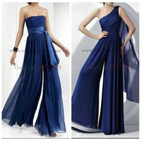 women ruffle pants - Royal Blue Chiffon Bridesmaid Dress Rompers Jumpsuit Maid of Honor Jumpsuit Rompers For Junior Girls One Shoulder StraplessWide Pants Women