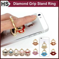Wholesale Bling Diamond Grip Stand Finger Ring For Cell Phone iPhone Samsung iPad Case Cover Universal Hook Holder With Retail Package