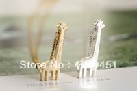 beaded giraffe - New Arrival cute giraffe necklace jewelry in color gold silver rose gold Drop Shipping