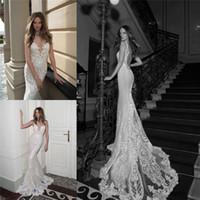 Cheap Berta Bridal Lace Wedding Dresses Jewel Neckline Sheer Back Bridal Gowns Floor Length Mermaid Wedding Gown