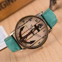 Wholesale Hot Sale cowboy Vine Retro Casual Watch Anchor Pattern Wristwatch Women Lady Fashion Leather Cheap Quartz Watch