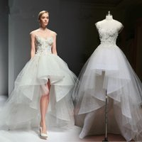 sleeve photo - High Low Ivory Tulle Wedding Dress Illusion Neckline Cap Sleeves Appliuqes Long Short Bridal Gowns Custom Size