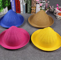 Wholesale spring summer Shade straw hats kids Wizard s hat Steeple Topper hats Candy colors childrens hat