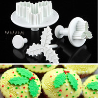 Wholesale 2Pcs Set Leaf Cake Cookie Cutters Mould Sugarcraft Fondant Decorating Plunger Bakeware Baking Tools Christmas Kitchen Supplies