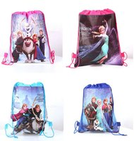 Cheap 120Pc lot 2014 New Baby Frozen Bags Anna Elsa peppa pig sofia Drawstring Backpack School Bags kids frozen shopping bags A062