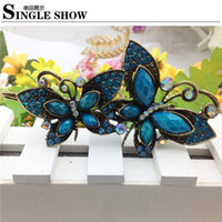 Wholesale Vintage Retro Styling Barrettes Crystal Women Butterfly Hairpin New Kanzashi Rhinestone Butterfly Barrette Female Lady Girl Hair Pin