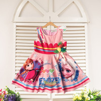 beautiful dress - 2015 frozen clothing elsa anna pink dresses for girls sleeveless baby girl summer dress kids clothes children beautiful flower skirts