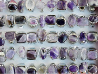 resale - Rings jewelry Resale Charm Natural Amethyst Stone gemstone Silver Tone wedding Rings