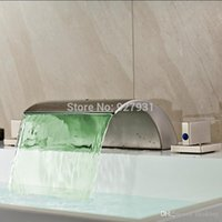 Wholesale New Brushed Nickel Waterfall Widespread LED Color Changing Basin Sink Faucet Deck Mounted Holes