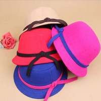 Cheap 2014 Vintage Style Children wool Hat bucket hats for girls princess bowknot fedoras winter Kids Stingy Brim Hat Floppy Capshao001